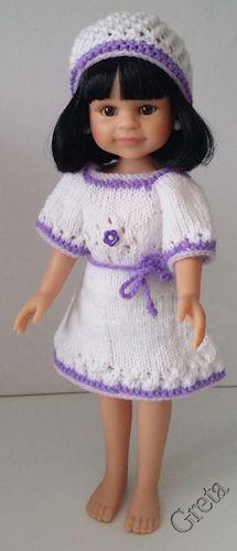 zelf gemaakt voor mijn pop:Paola Reina-Cleo-32cm-witte jurk en mutsje