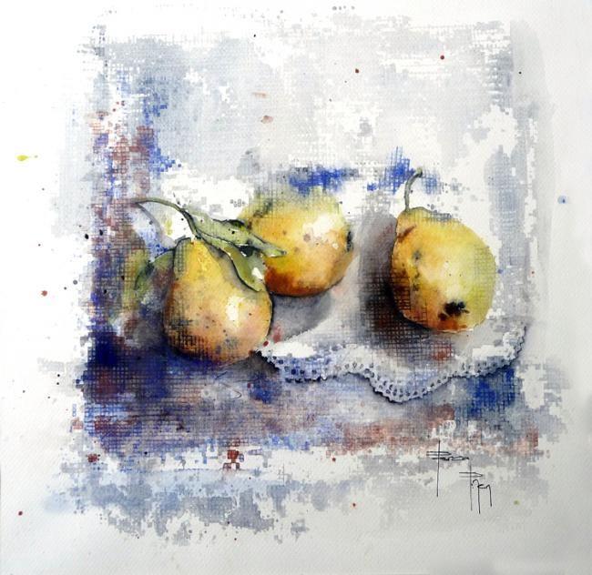 Poires Sur Napperon Painting C 2011 Par Pascal Pihen Peinture