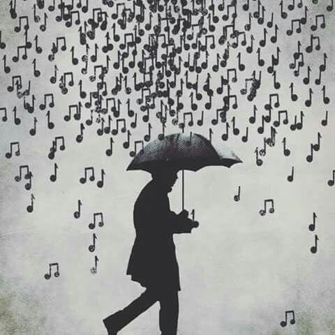 Hombre Bajo La Lluvia Musical Arte Y Musica Imágenes De Musica Notas Musica
