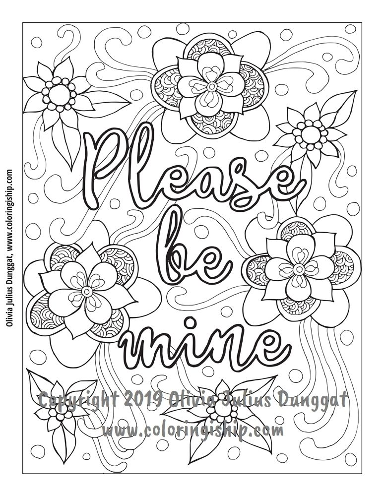 Please Be Mine Love Coloring Pages Words Coloring Book Swear Word Coloring Book