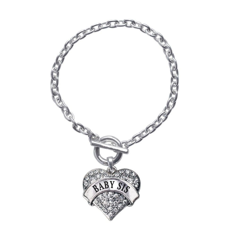 Baby Sis Pave Heart Toggle Bracelet- Select Your Color!