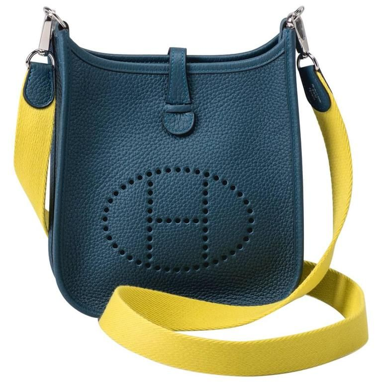 083f34308375 New in Box Hermes Evelyne Mini Blue Colvert Lime
