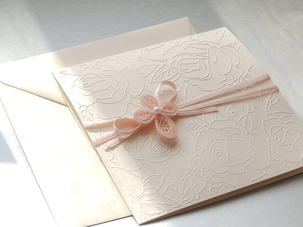 Handmade Girl Christening Invitation/Unique Baptism Invitation/Elegant  Cross Invitation/First Holly Communion