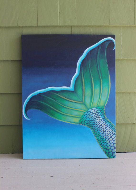undersea mermaid tail contemporary painting original