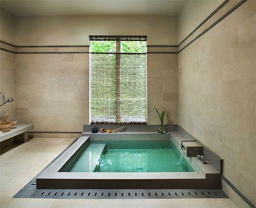 Zen bathroom design with buddha wall art spa