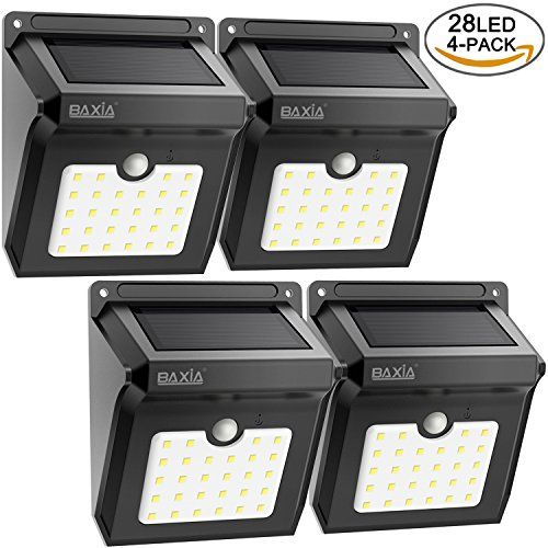 Bright 28 Led Solar Powered Motion Sensor Security Wall Lights Baxia Technology Waterproof Wireless Motion Detected Light For Outdoor Gate Door Driveway Garden Patio Yard 4 Packs Solar Wall Lights Solar Lights Solar
