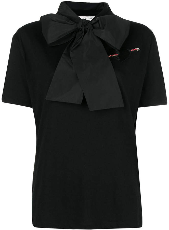 woven bow-neck T-shirt - Black Valentino Clearance Looking For ws9ARgY9
