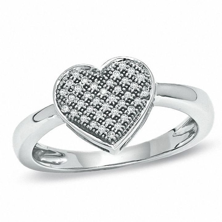 Zales 1/10 CT. T.w. Diamond Heart Cluster Ring in 10K White Gold