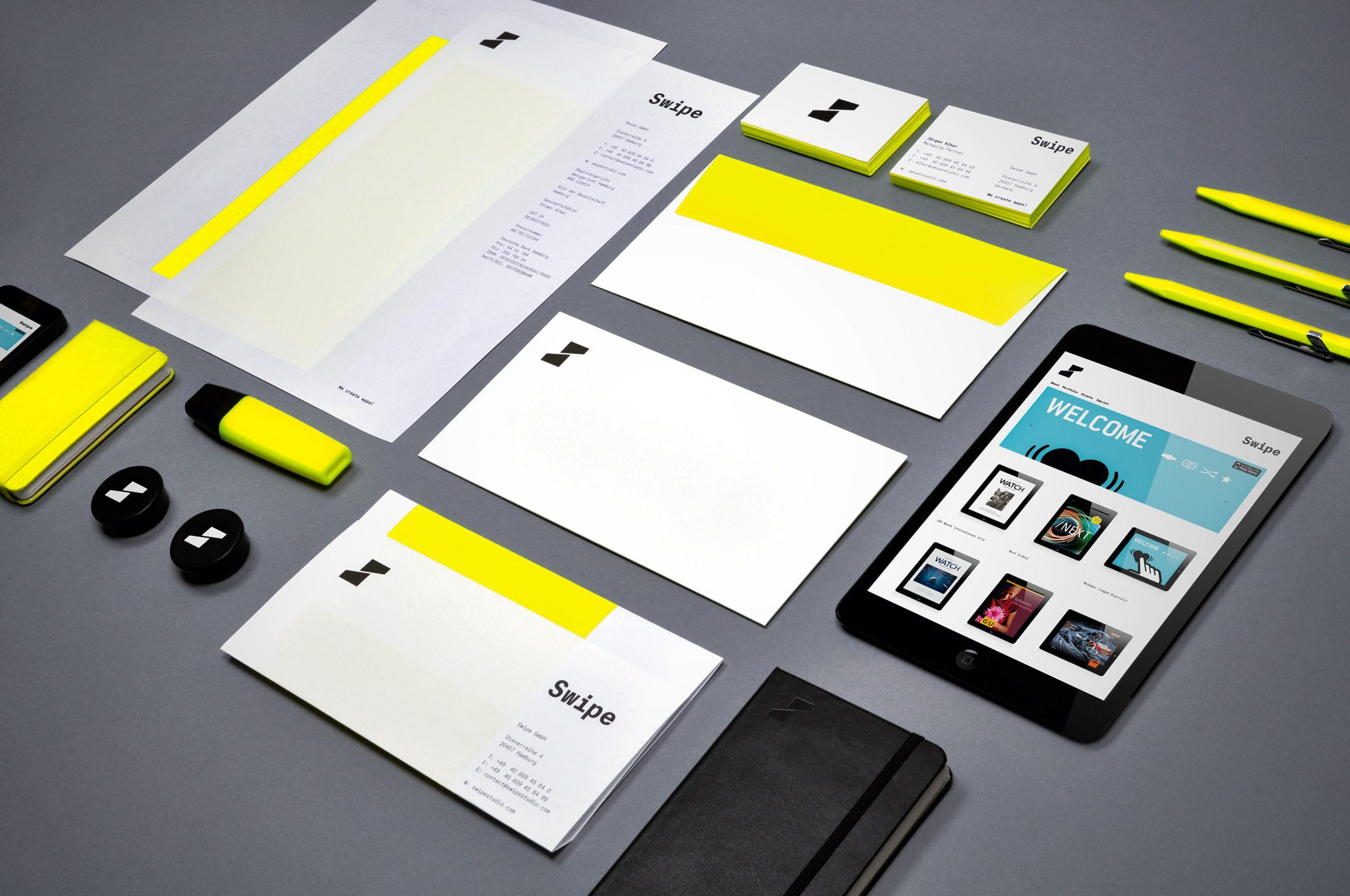Swipe business card, letterhead and envelope with neon yellow. www ...