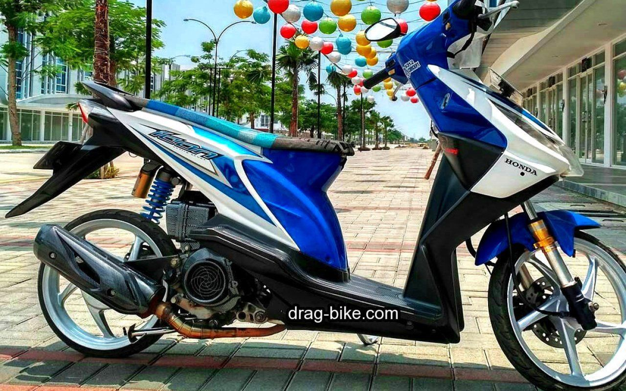 Modifikasi Motor Beat Karbu Warna Biru Tj Modify Drag