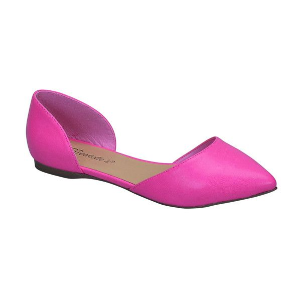 Breckelle's Pink Dolley Flat (€12) ❤ liked on Polyvore featuring shoes, flats, pink flat shoes, pink flats, pink shoes, flat footwear and synthetic shoes