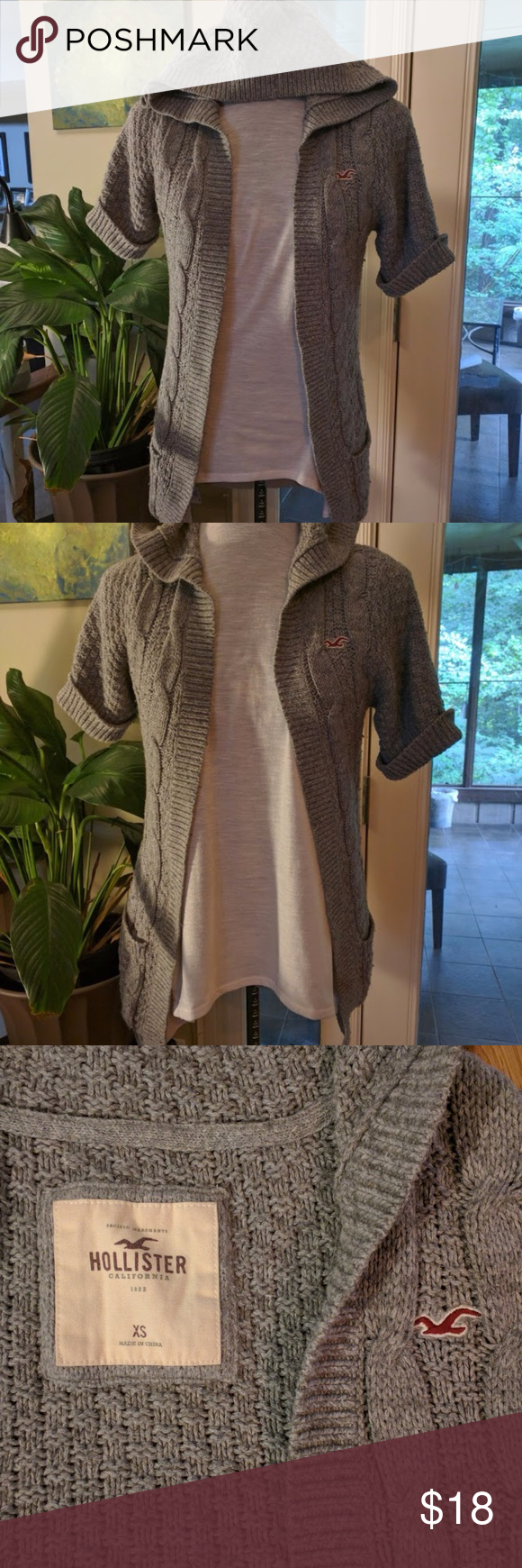 Hollister Long Knit Short Sleeve Hooded Sweater | Knit shorts ...