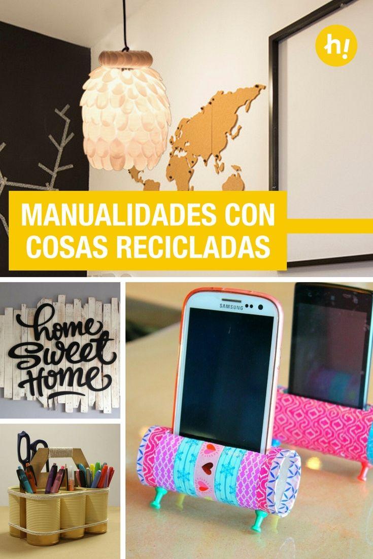 12 manualidades con reciclaje de materiales que tienes por for Decoracion de casas con material reciclado