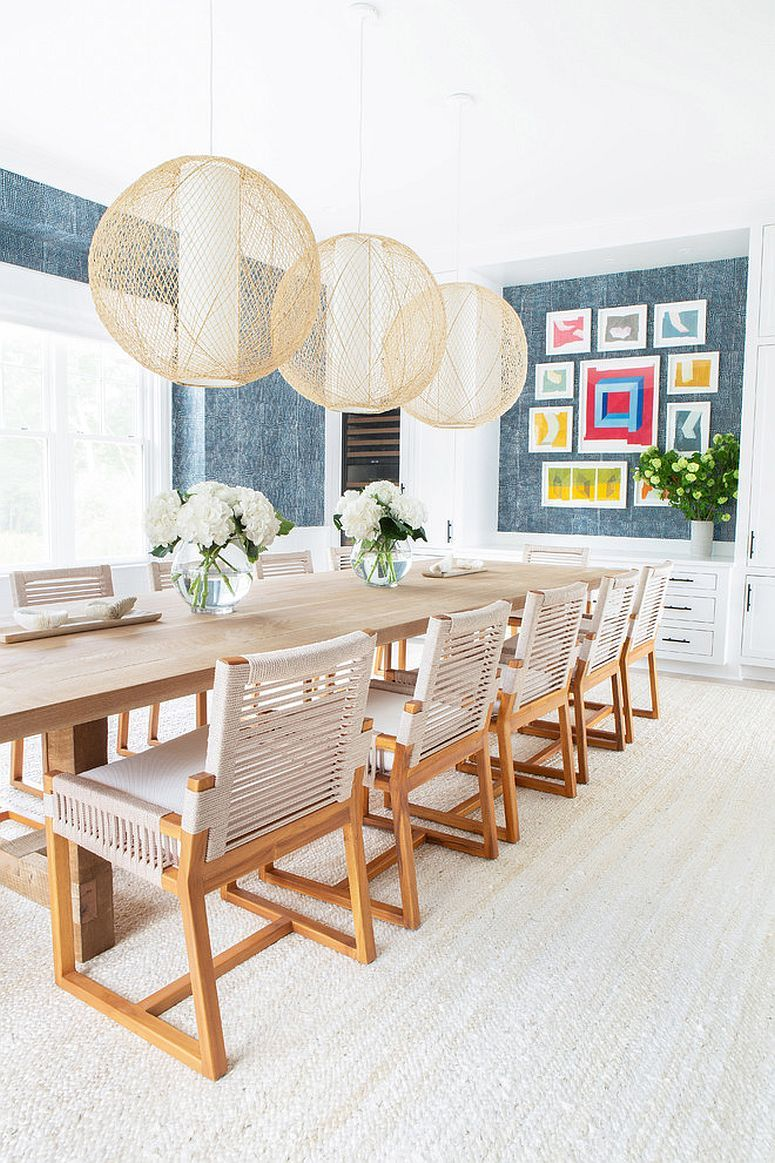 Lighting Fixtures Steal The Show In This Beach Style Dining Room Decor Luxury Dining Room Custom Furniture Design