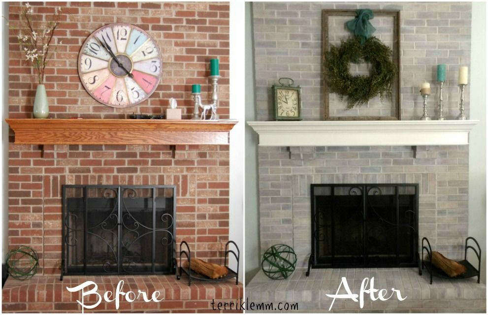 Whitewashed brick before and after. Amazing transformation ...