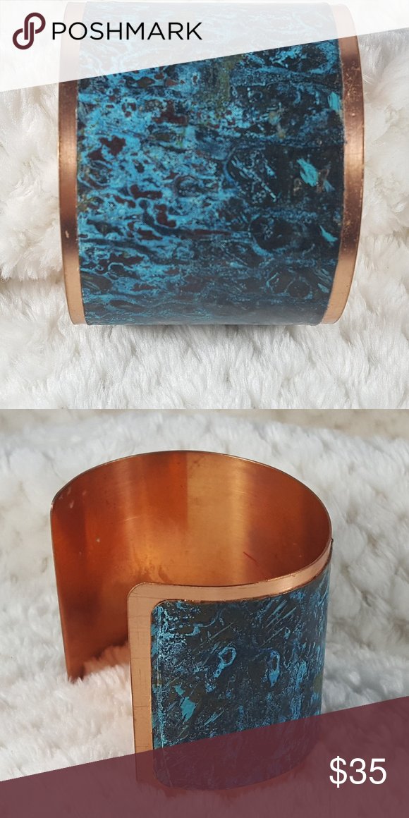 Copper Cuff 2 Wide X2 1 2 Dia Copper Cuff With Turquoise Patina On 1 3 4 Wide Copper Sheet Glued With 1 1 2 Opening For Ad Copper Cuff Copper Copper Sheets