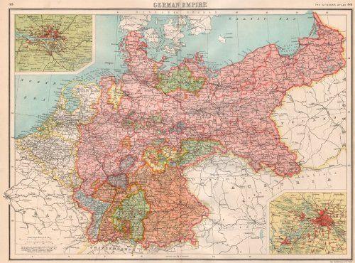 GERMANY: German Empire; inset Hamburg; Berlin. BARTHOLOMEW;1898 map: Amazon.co.uk: Kitchen & Home