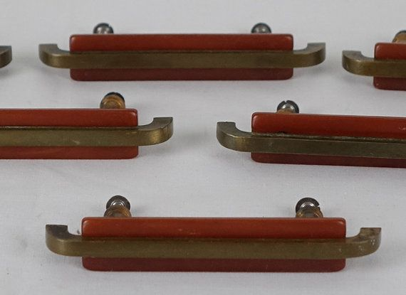 Vintage Bakelite Drawer Pulls Set Of 6 Handles Br And Dresser Art Deco Hardware