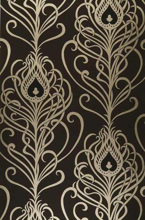 $47.64 Price per roll (per m2 $9.11), Glamorous  wallpaper, Carrier material: Paper-based wallpaper, Surface: Smooth, Look: Shimmering pattern, Matt base surface, Design: Peacock feathers, Basic colour: Black, Pattern colour: Gold, Black, Characteristics: Lightfast, Wet removable, Paste the wallpaper, Water-resistant