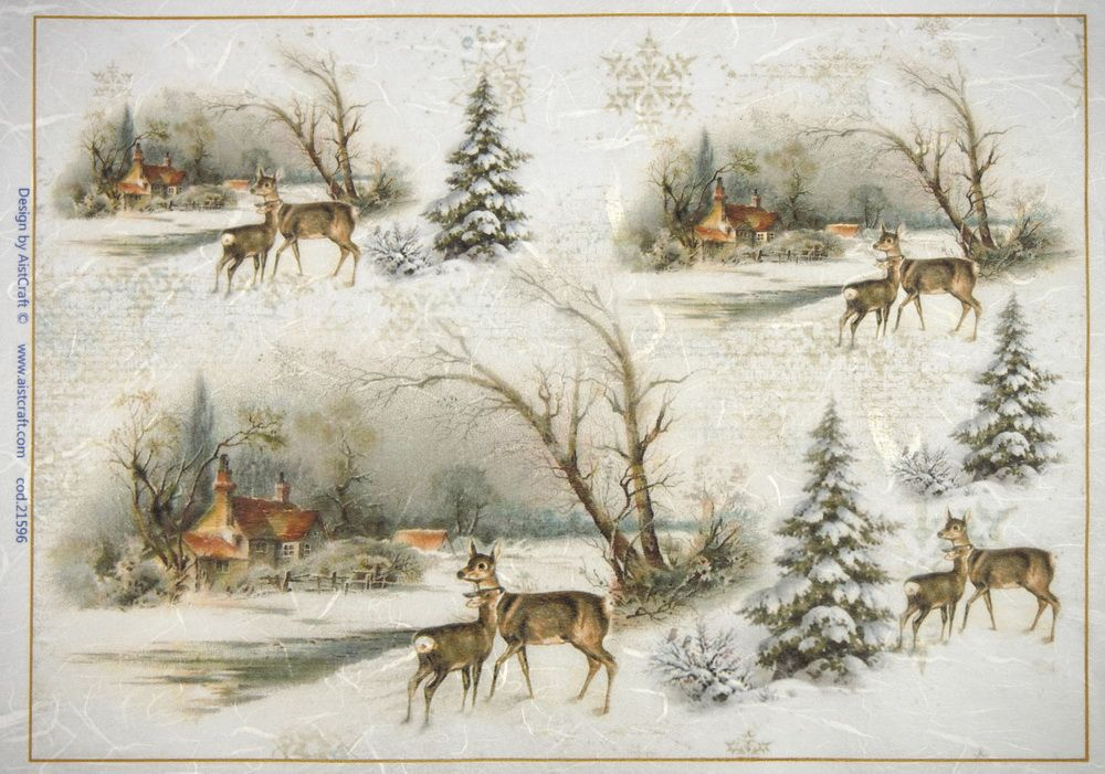 Rice Paper for Decoupage Winter forest with deer Scrapbook Sheet