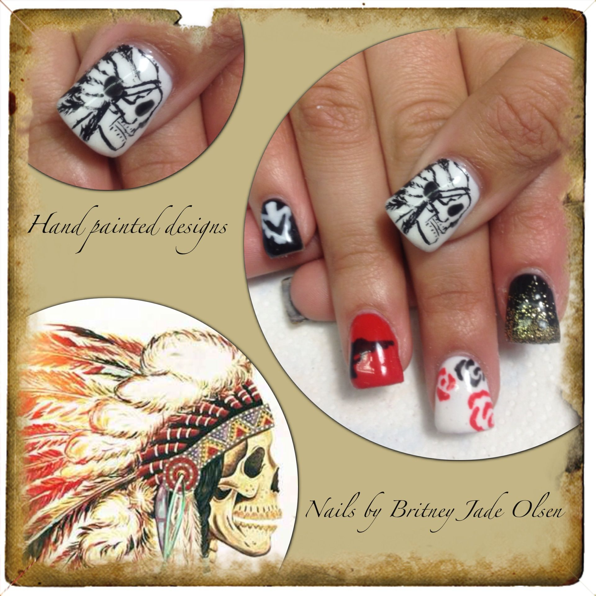 Hand Painted Nail Art Designs: Native American Western Theme. Hand Painted Nail Art