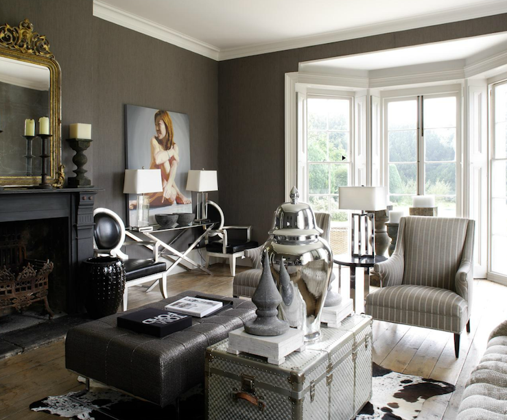 living rooms - gray taupe grasscloth wallpaper black painted ...