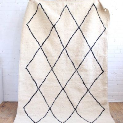 Beni Ourain Rug From Morocco White Virgin Wool And Black Lines