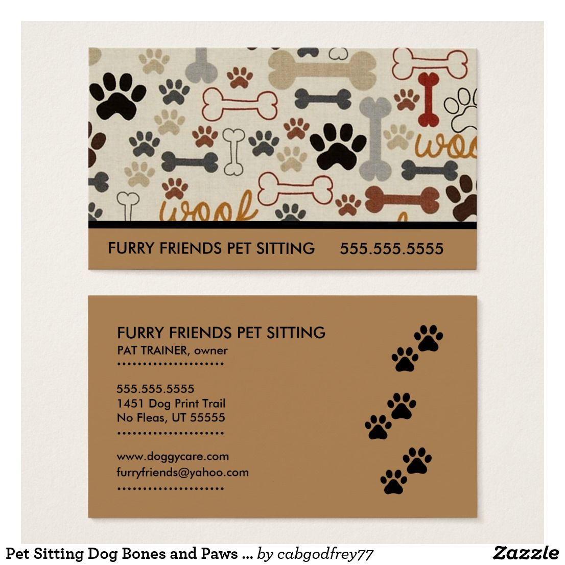 Pet Sitting Dog Bones And Paws Business Card Zazzle Com In 2020 Pet Sitting Business Cards Business Cards Pets Pet Sitting Business