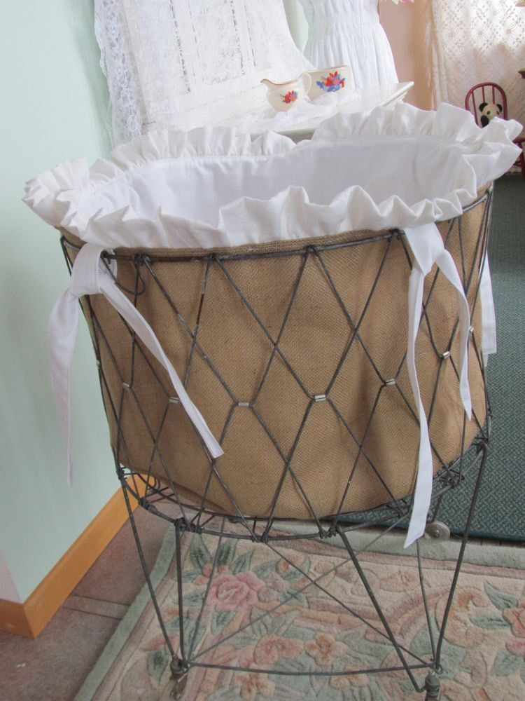 Vintage Wire French Laundry Hamper Liner Burlap And White