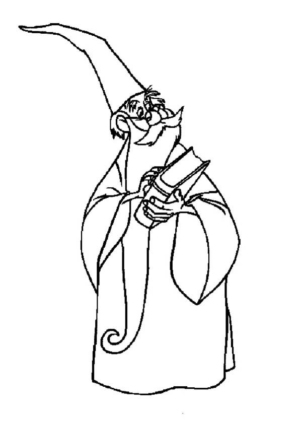 Merlin The Wizard Holding Book Of Magic Spell Coloring Pages Bulk Color Merlin The Wizard Coloring Pages Magic Spells