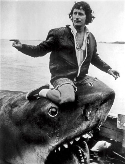Steven Spielberg on the set of Jaws, 1975.    (Source: filmcrack)