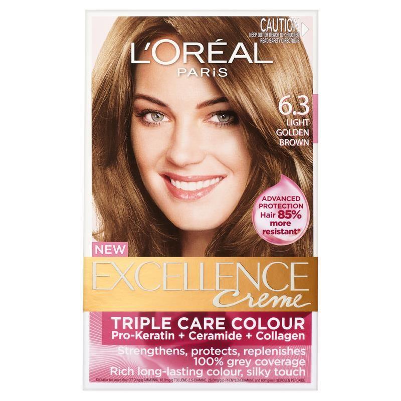 L Oreal Excellence Creme 6 3 Light Golden Brown Chemist Warehouse Light Golden Brown Loreal Hair Color Loreal