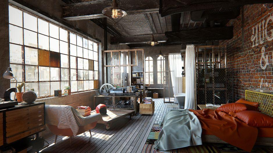Brooklyn nyc loft by yaroslav kushta architecture 3d for Decoracion de interiores 3d