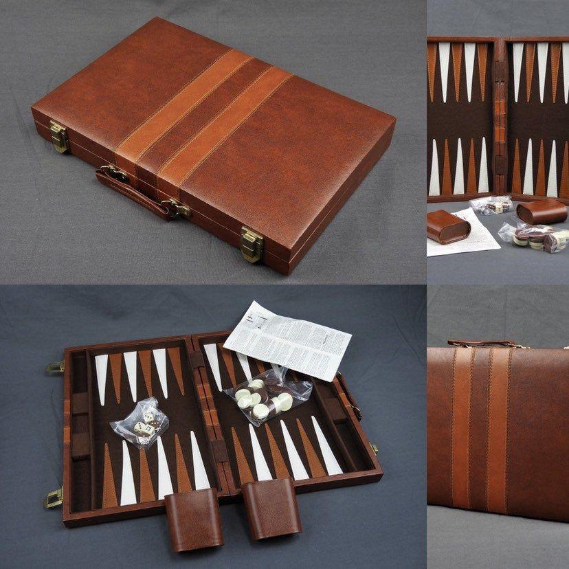 Vintage Backgammon Set Unopened Pieces Brown Faux Leather
