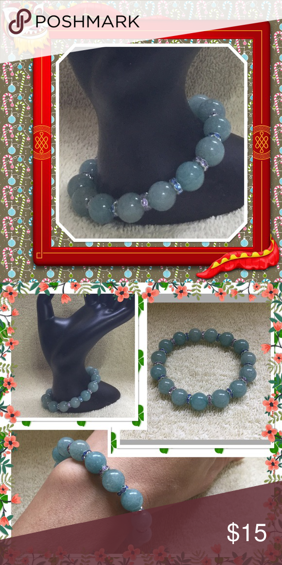 🆕 natural aquamarine gemstone beads bracelet 10mm blue Strachey natural aquamarine with color crystal space beads 7 to 8 inches NWOT Jewelry Bracelets