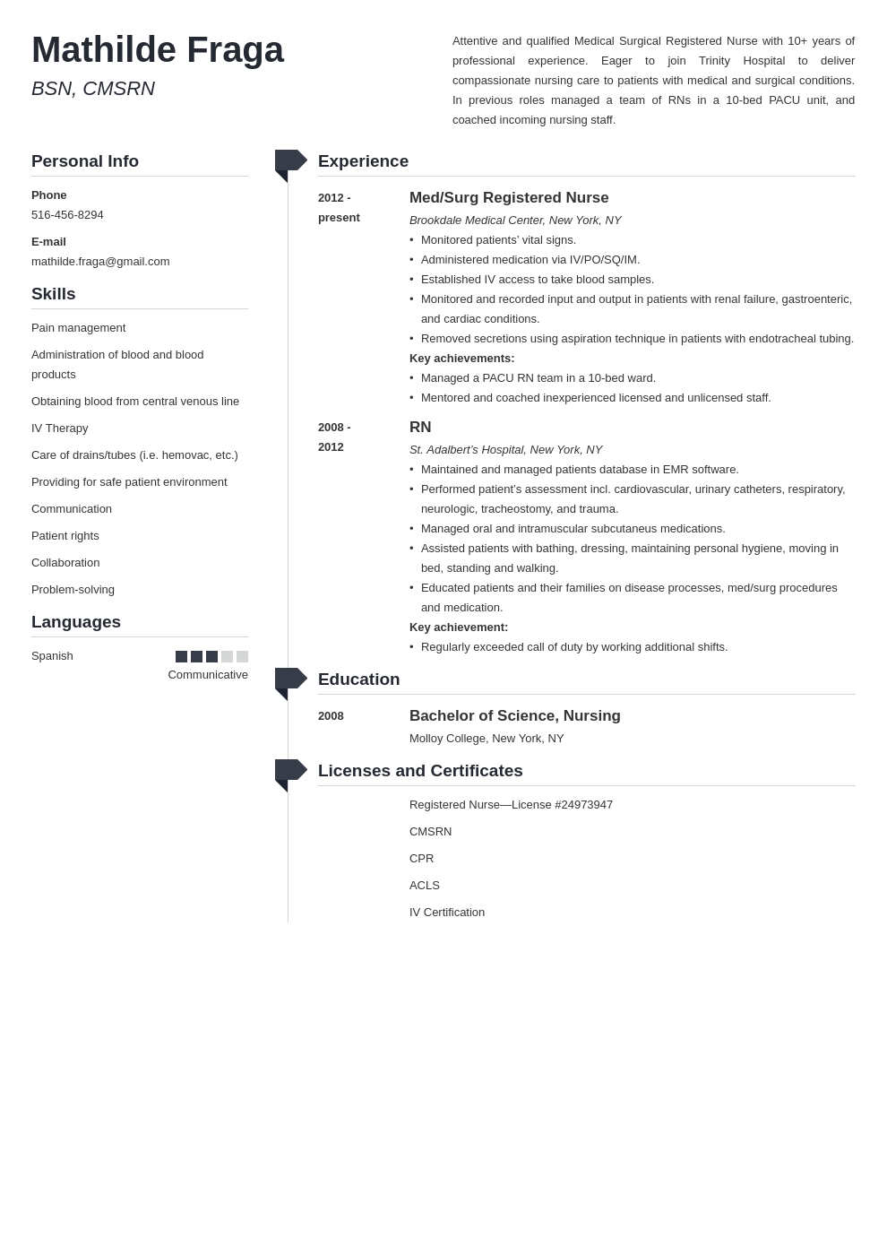 med surg nurse resume example template muse in 2020