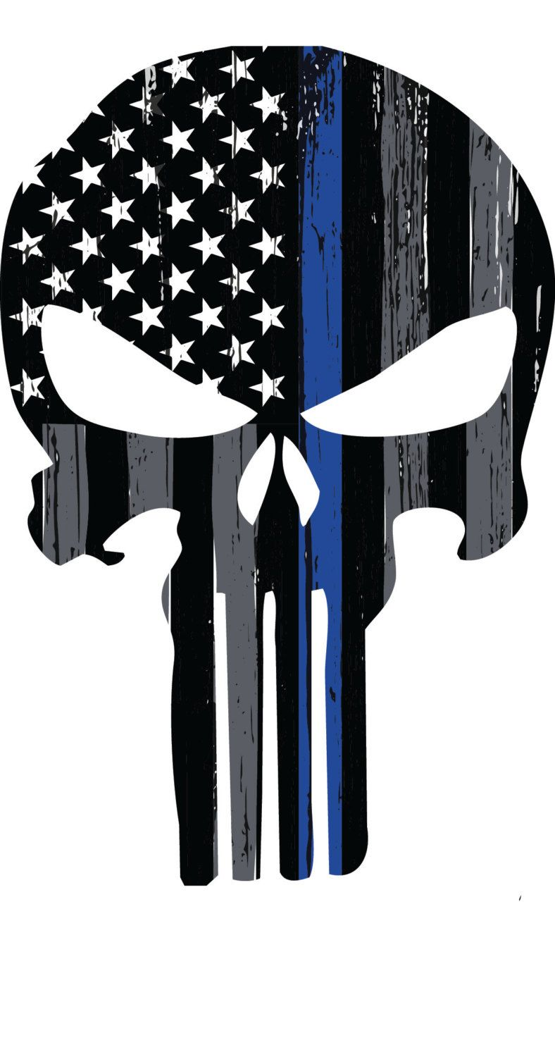 Thin blue line punisher skull decal by angprintinganddesign on etsy