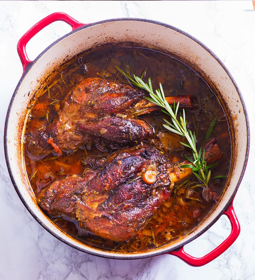 Minimum Fuss Maximum Flavour Is The Best Way To Describe This Slow Braised Lamb Shanks Recipe Tons Of Herb Lamb Stew Recipes Braised Lamb Braised Lamb Shanks