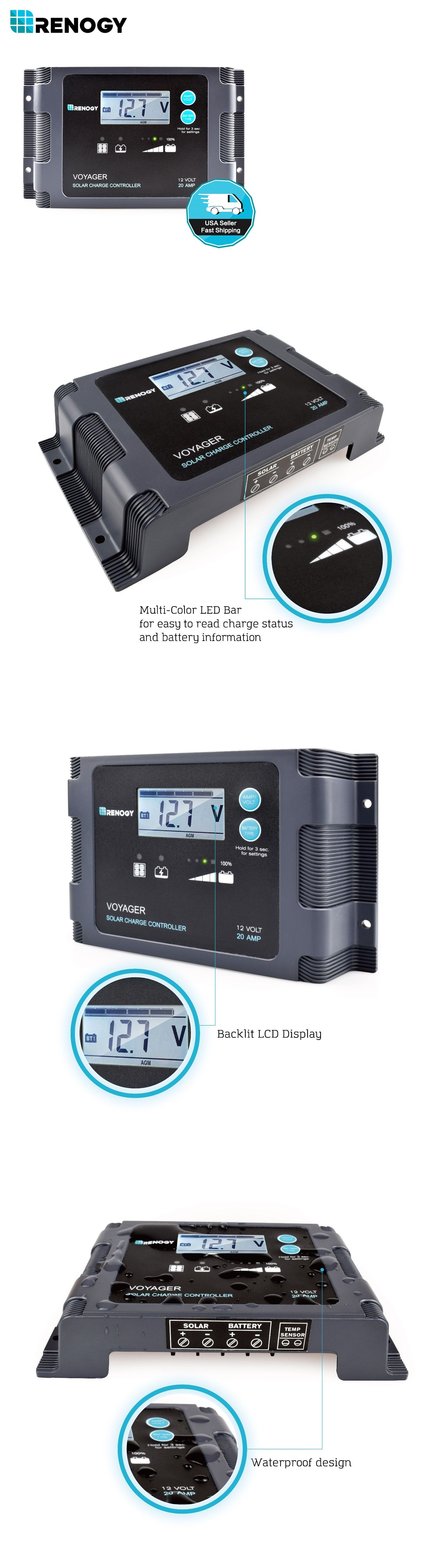 Chargers And Inverters 41980 Renogy Voyager 20a Pwm Waterproof Solar Charge Controller 12v Battery Regulator Buy It Now Only 53 Solar Module Solar Voyage