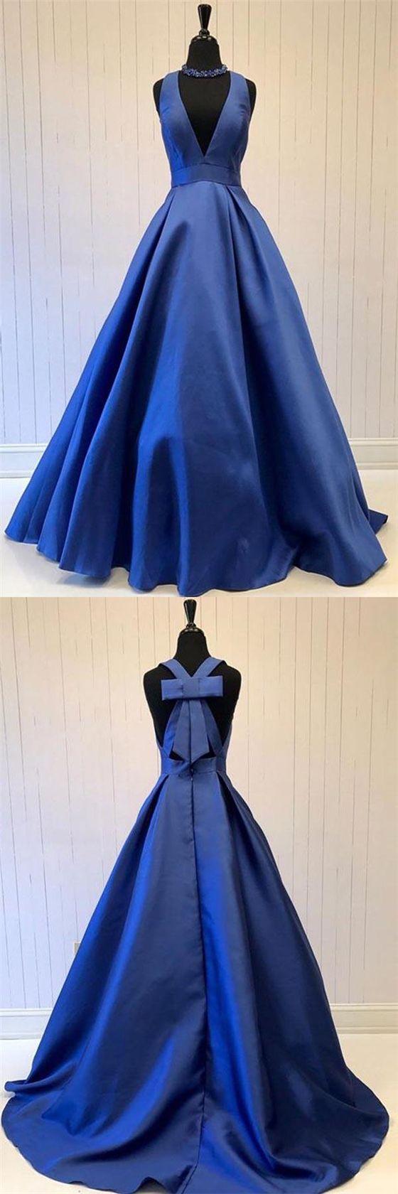 Vneck royal blue satin aline prom dresses special back design