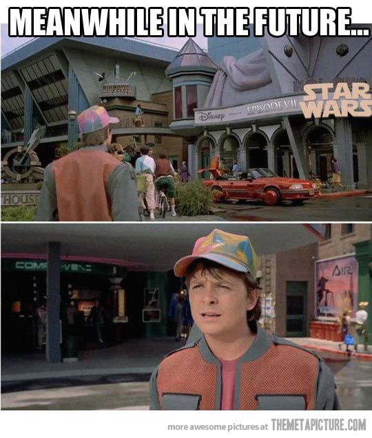 Back To The Future's Prediction…MIND BLOWN! Disney now owns rights to Star Wars and are possibly making more movies. Episode VII!!!!!!