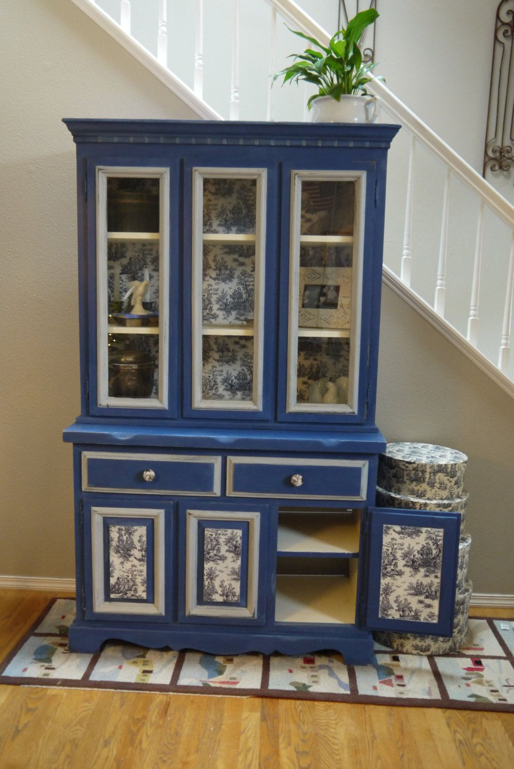 Hutch With Napoleonic Blue Chalk Paint And Toile Fabric Decoupage Via Etsy