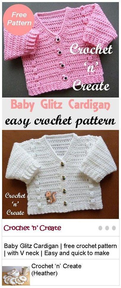 Baby Glitz Cardigan Free Crochet Pattern | Bebe, Bebé y Tejido
