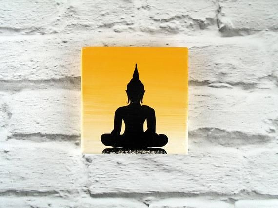 Yellow Buddha painting on wooden plaque, Buddhist wall decor, Buddha wall art, Buddha gift, Spiritua #buddhadecor