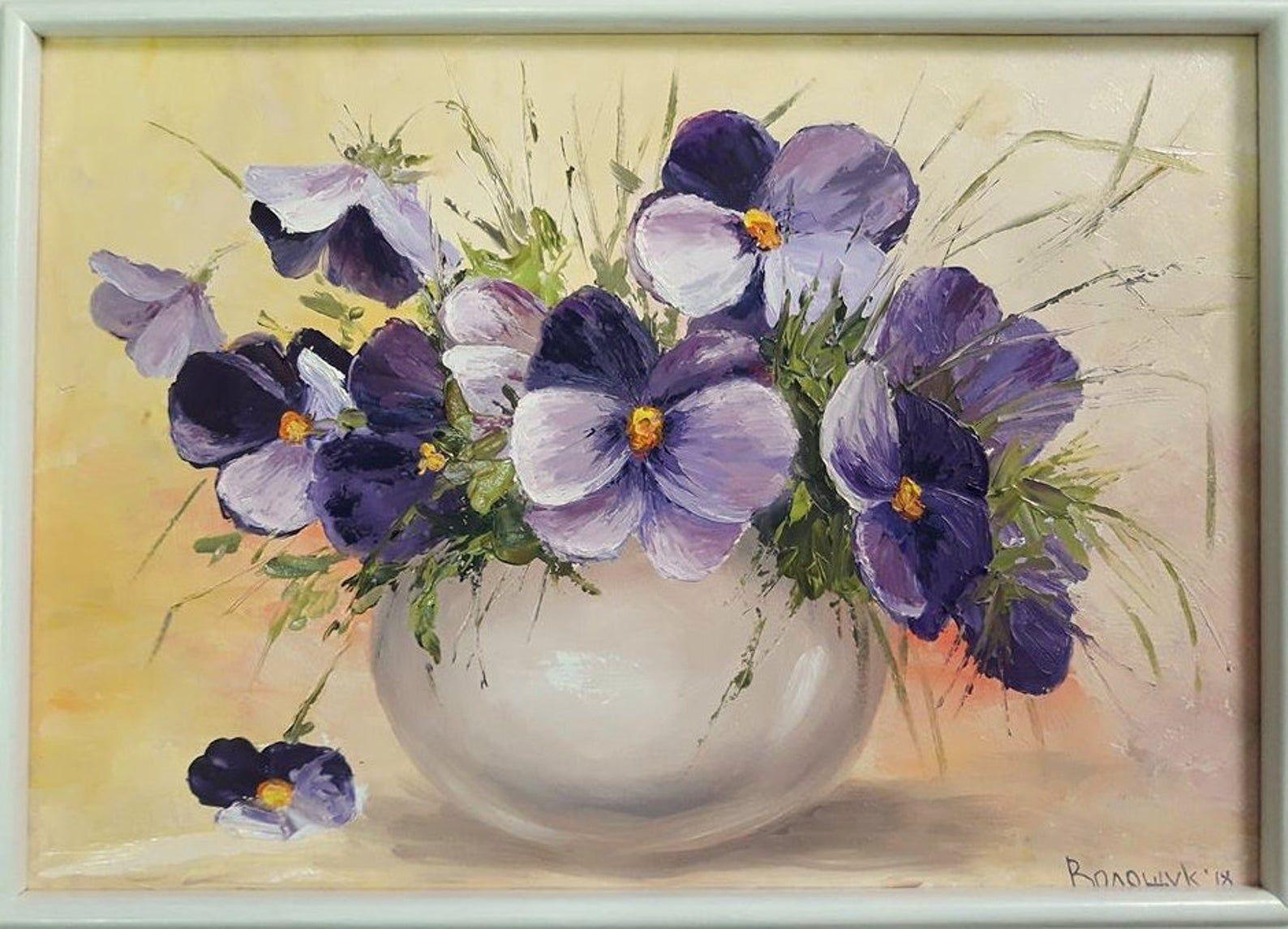 Bouquet Of Flowers Pansies Delicate Blue And Purple Flowers Etsy In 2020 Pansies Flowers Watercolor Flowers Blue And Purple Flowers