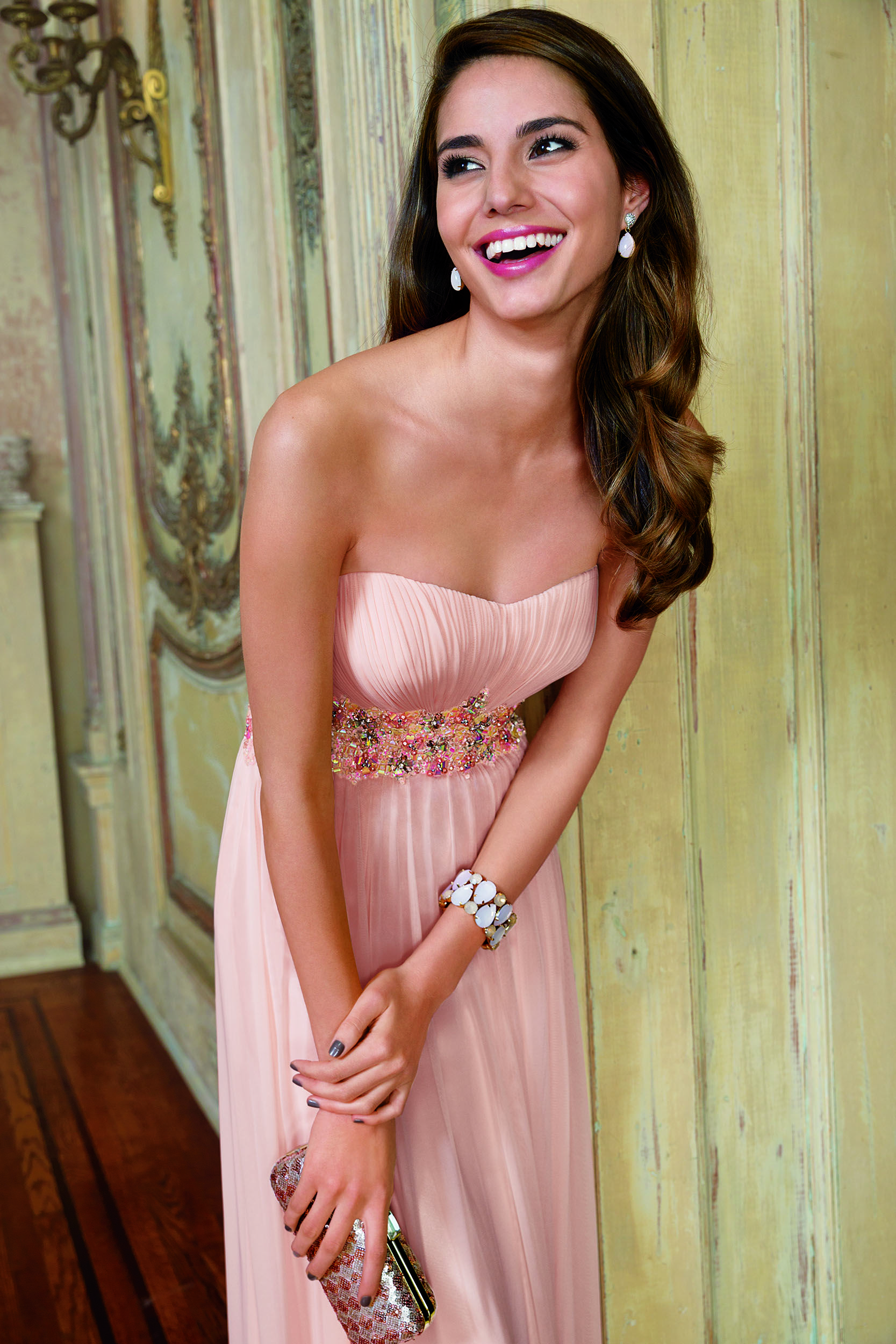 Beauty In Blush Make The Pale Pink Color Trend Your Own With A Bejeweled Waistband