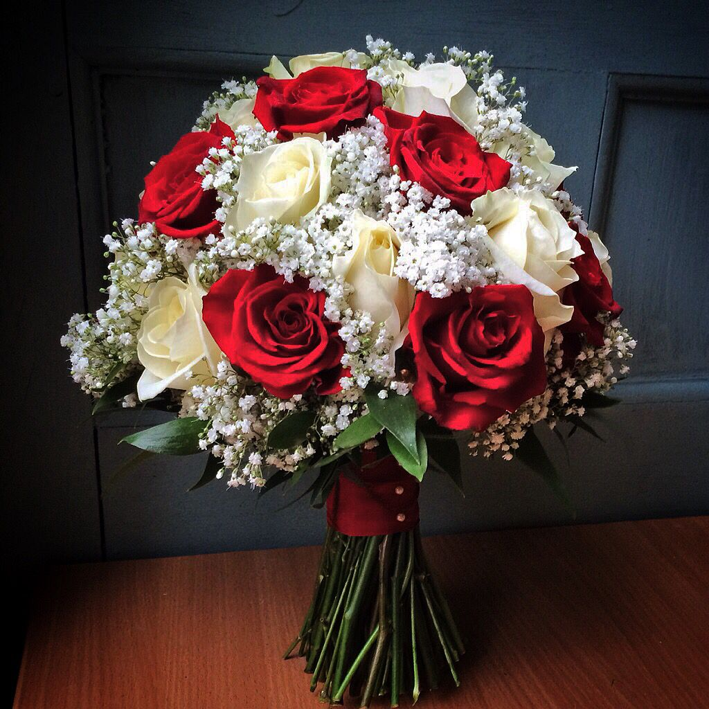 Red Garden Rose Bouquet small cascading bouquet with red garden roses, seeded eucalyptus