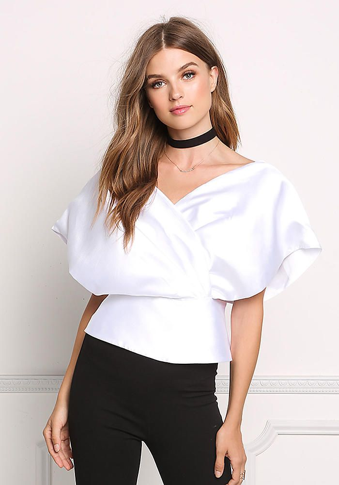 White Taffeta Bardot Overlap Blouse - Boutique Culture - New Arrivals