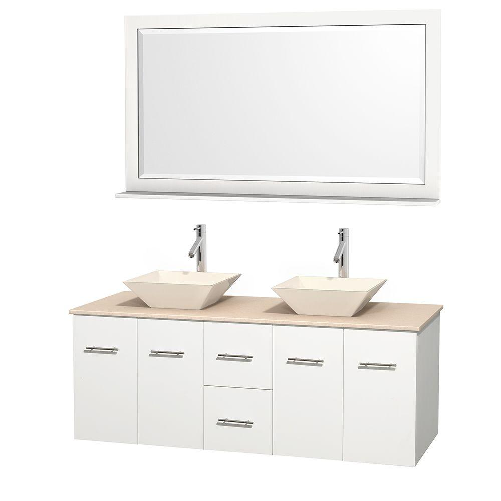 Wyndham Collection Centra 60 In Double Vanity In Marble Vanity