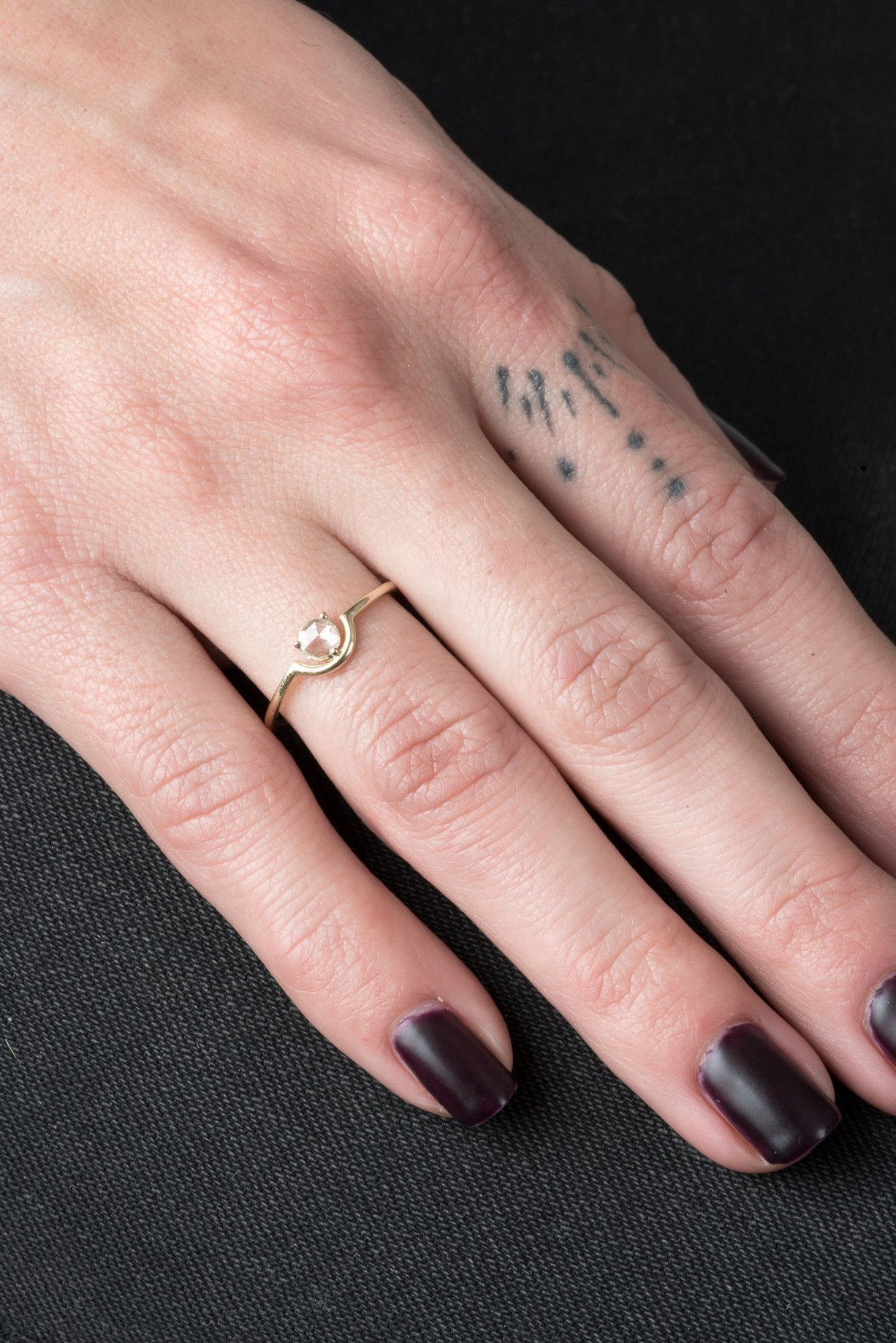 Single Nested Rosecut Diamond Ring Tattoo wedding rings